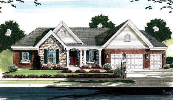 House Plan 50128 with 4 Beds, 3 Baths, 3 Car Garage Elevation