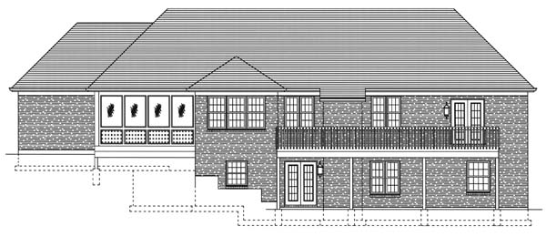 House Plan 50128 with 4 Beds, 3 Baths, 3 Car Garage Rear Elevation
