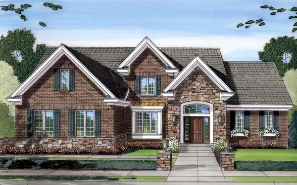 House Plan 50129 with 4 Beds, 3 Baths, 2 Car Garage Elevation