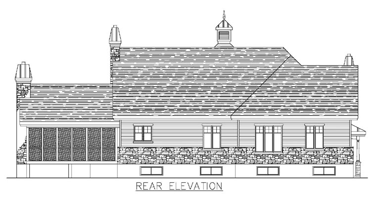 Colonial House Plan 50313 with 3 Beds, 3 Baths Rear Elevation