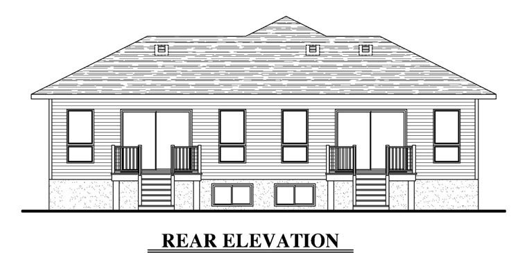 Contemporary Multi-Family Plan 50338 with 6 Beds, 4 Baths Rear Elevation