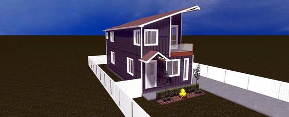 House Plan 50430 with 2 Beds, 4 Baths Elevation