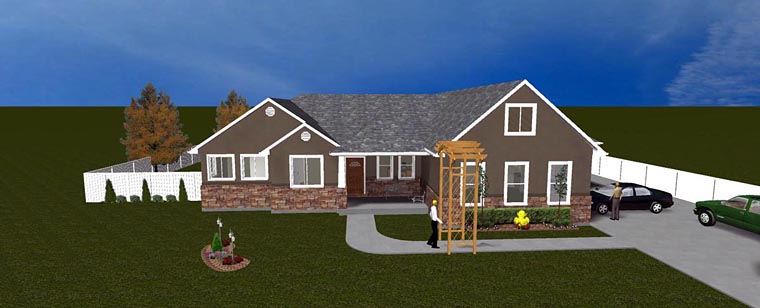 House Plan 50438 with 5 Beds, 3 Baths, 3 Car Garage Elevation