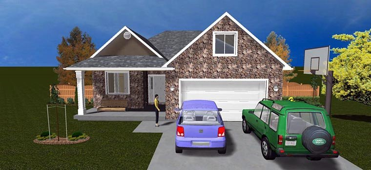 House Plan 50440 with 5 Beds, 3 Baths, 2 Car Garage Elevation