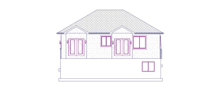 House Plan 50442 with 5 Beds, 3 Baths, 2 Car Garage Rear Elevation
