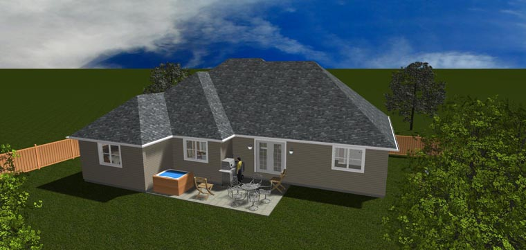 House Plan 50443 with 5 Beds, 3 Baths, 2 Car Garage Rear Elevation