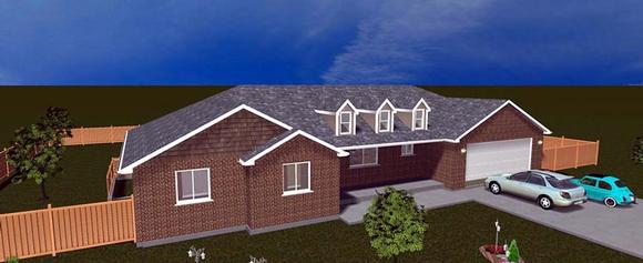 House Plan 50464 with 5 Beds, 4 Baths, 2 Car Garage Elevation