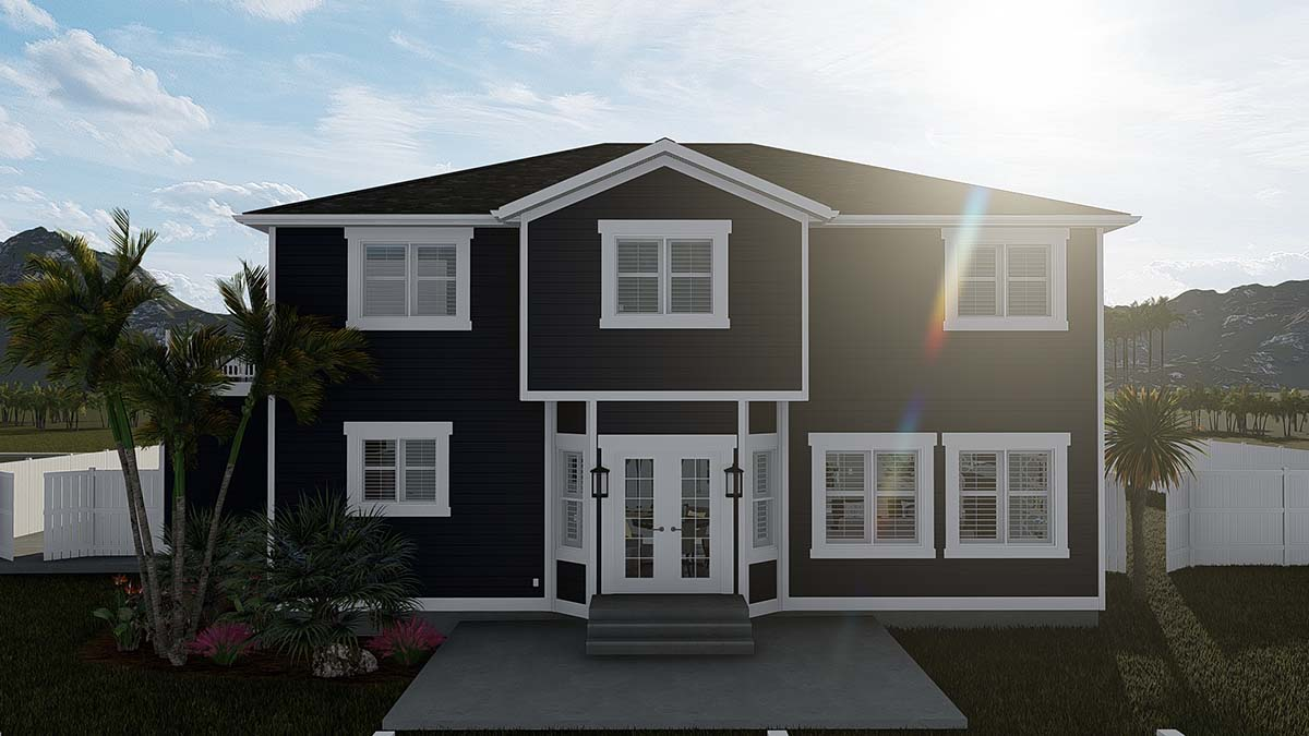 Craftsman, Traditional House Plan 50533 with 6 Beds, 4 Baths, 3 Car Garage Rear Elevation
