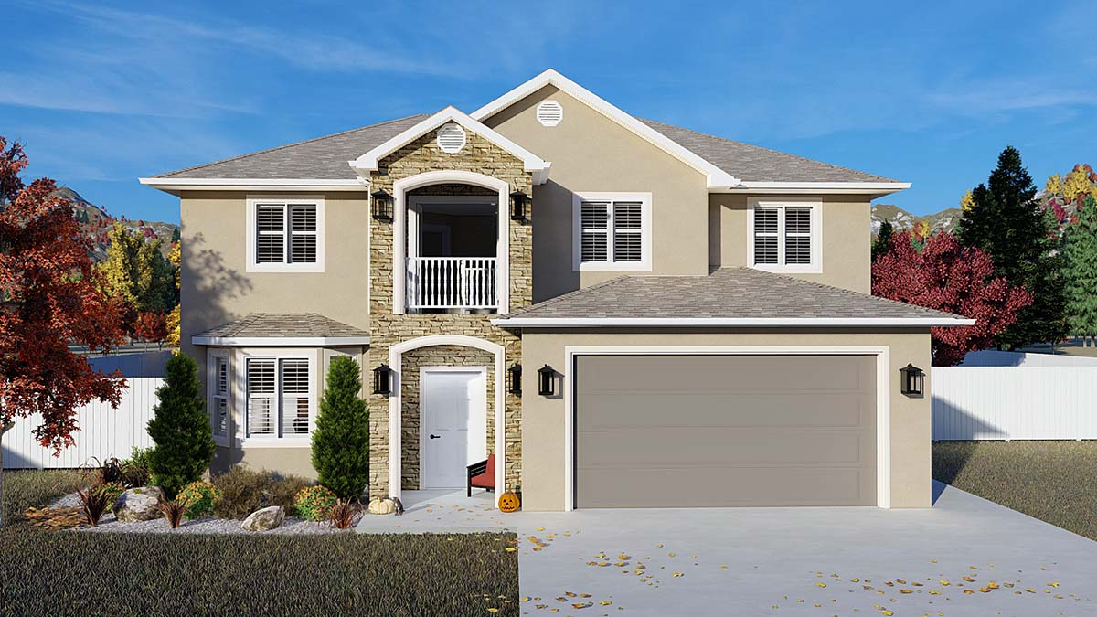 Traditional House Plan 50535 with 4 Beds, 2 Baths, 2 Car Garage Elevation