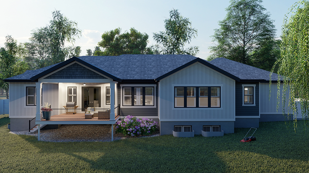 Craftsman, Ranch, Traditional House Plan 50536 with 6 Beds, 5 Baths, 3 Car Garage Rear Elevation