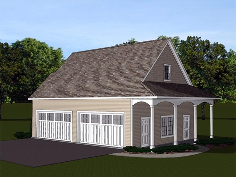 4 Car Garage Apartment Plan 50629 Rear Elevation
