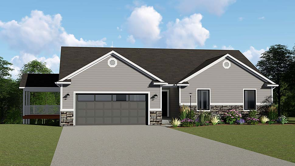 Ranch, Traditional House Plan 50646 with 3 Beds, 3 Baths, 2 Car Garage Elevation