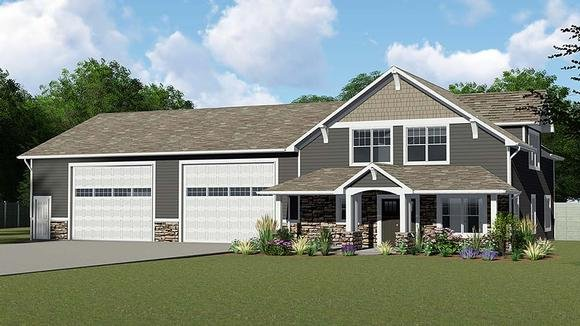 Cottage, Country, Craftsman 4 Car Garage Apartment Plan 50661 with 1 Beds, 1 Baths Elevation