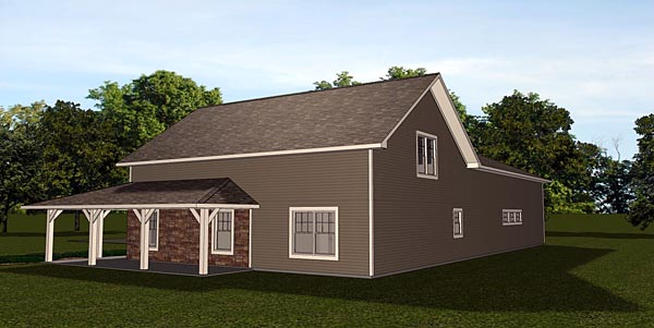 Cottage, Country, Craftsman 4 Car Garage Apartment Plan 50661 with 1 Beds, 1 Baths Rear Elevation