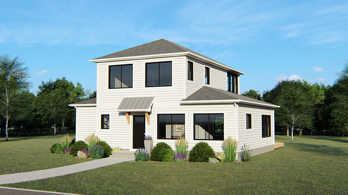 Colonial, Contemporary, Traditional House Plan 50688 with 2 Beds, 1 Baths Elevation