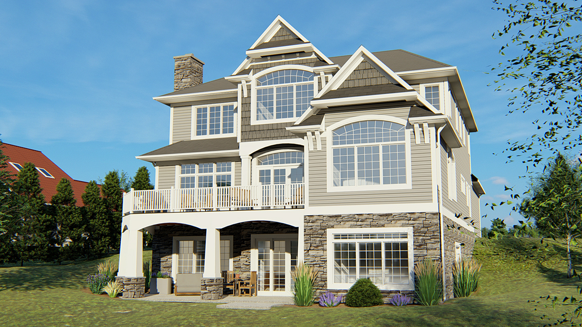 Bungalow, Cottage, Craftsman, Southern, Traditional House Plan 50692 with 5 Beds, 5 Baths, 3 Car Garage Rear Elevation