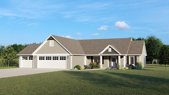 Ranch, Traditional House Plan 50698 with 3 Beds, 2 Baths, 3 Car Garage Elevation