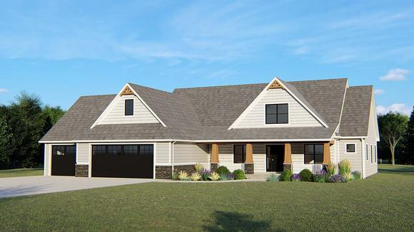 Country, Craftsman, Southern, Traditional House Plan 50699 with 5 Beds, 4 Baths, 3 Car Garage Elevation