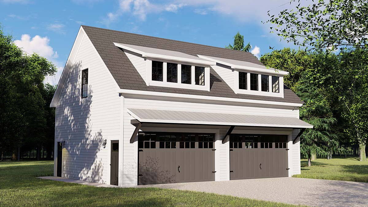 Colonial, Contemporary 3 Car Garage Apartment Plan 50707 with 1 Beds, 1 Baths Elevation