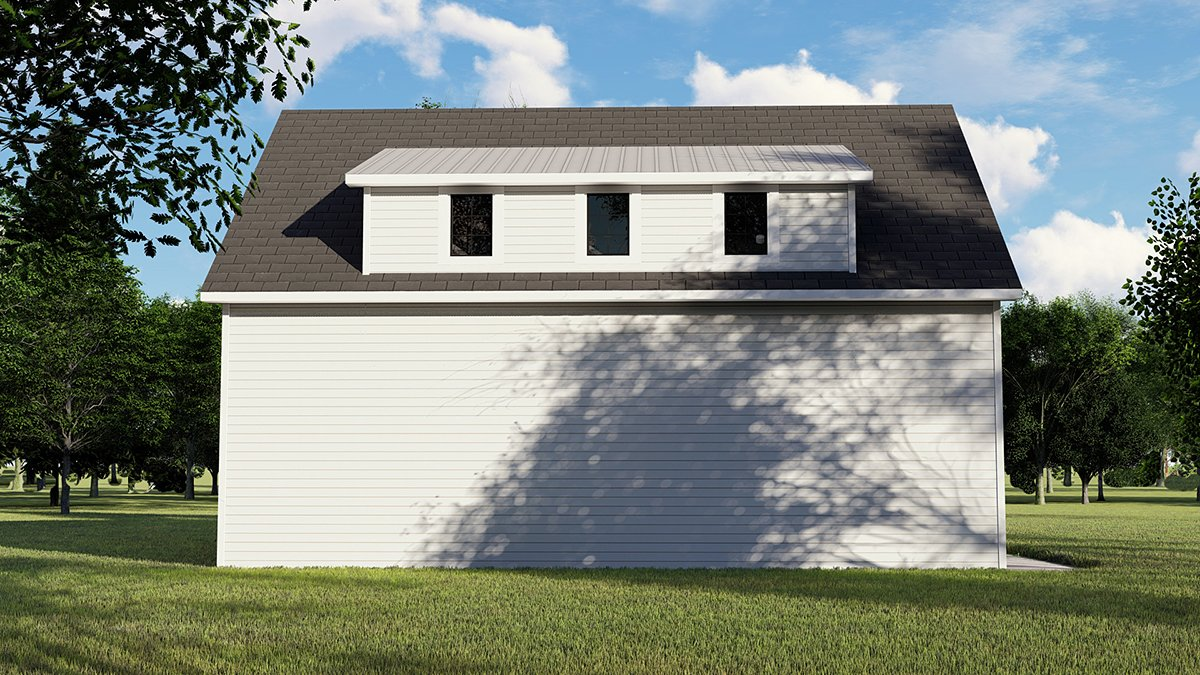 Colonial, Contemporary 3 Car Garage Apartment Plan 50707 with 1 Beds, 1 Baths Rear Elevation