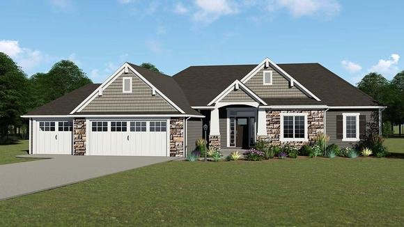 House Plan 50735 Ranch Style With, Three Car Garage House Plans