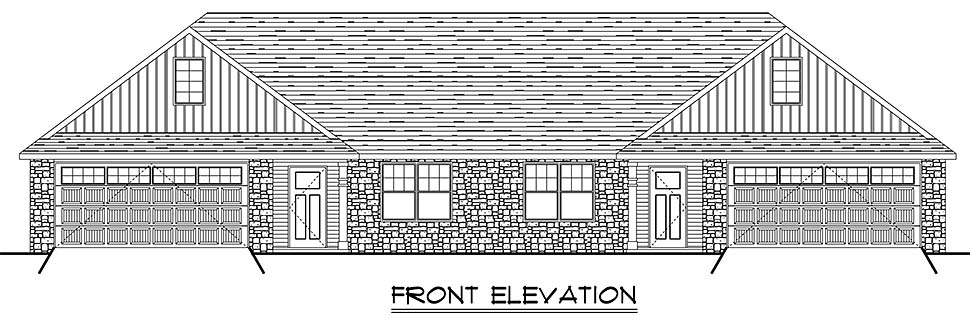 Colonial, Cottage, Country, Craftsman, Ranch, Traditional Multi-Family Plan 50789 with 6 Beds, 4 Baths, 4 Car Garage Picture 1