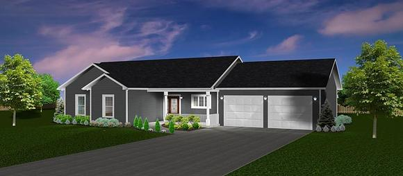 Ranch, Traditional House Plan 50905 with 3 Beds, 2 Baths, 2 Car Garage Elevation