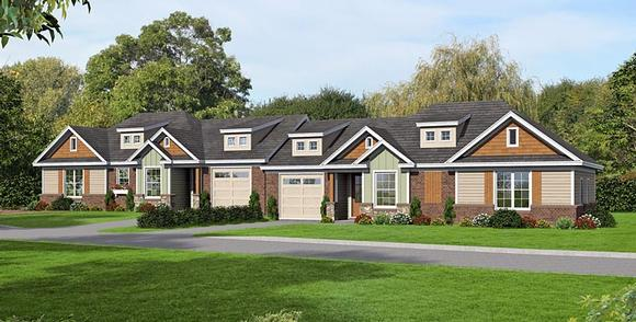 Craftsman Multi-Family Plan 51473 with 4 Beds, 4 Baths, 2 Car Garage Elevation