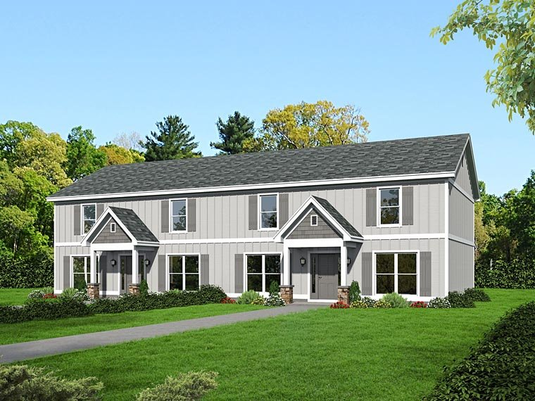 Traditional Multi-Family Plan 51508 with 8 Beds, 10 Baths Elevation