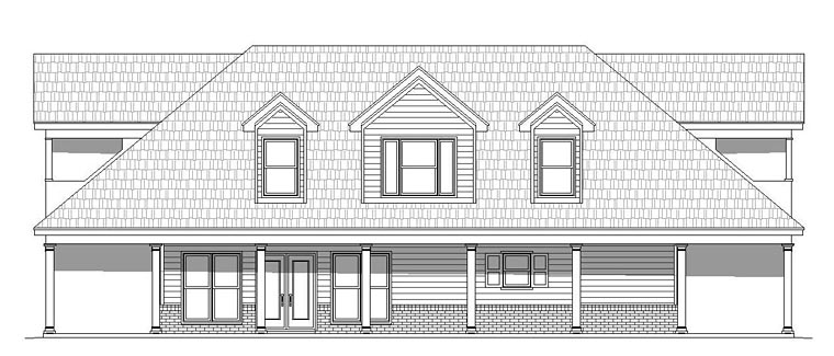 Country, Southern, Traditional House Plan 51511 with 1 Beds, 2 Baths Rear Elevation