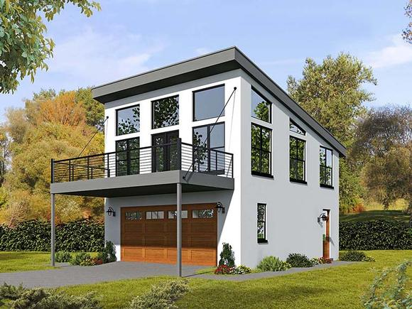 Contemporary, Modern Garage-Living Plan 51521 with 1 Beds, 2 Baths, 2 Car Garage Elevation