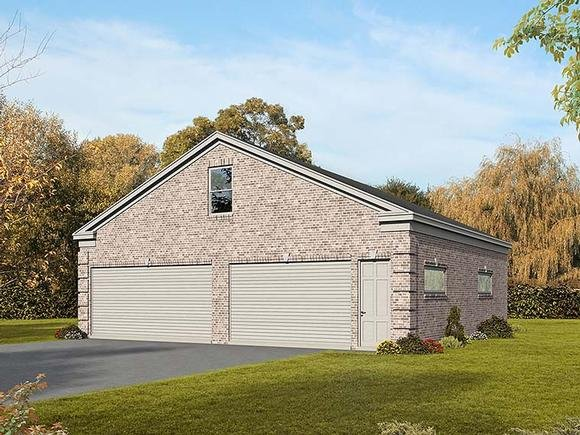 4 Car Garage Plan 51565 with 1 Beds Elevation