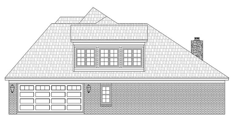 European House Plan 51595 with 4 Beds, 3 Baths, 2 Car Garage Picture 1