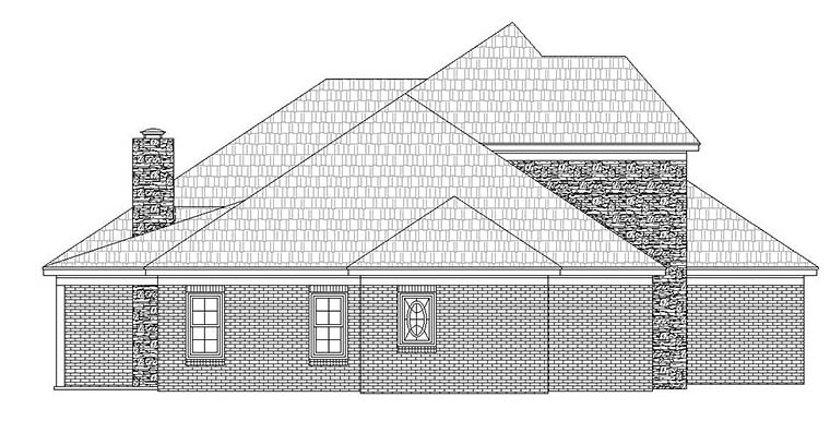 European House Plan 51595 with 4 Beds, 3 Baths, 2 Car Garage Picture 2
