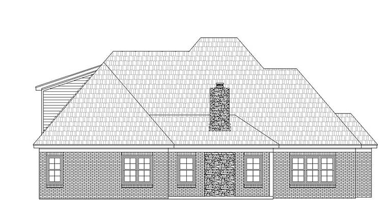 European House Plan 51595 with 4 Beds, 3 Baths, 2 Car Garage Rear Elevation