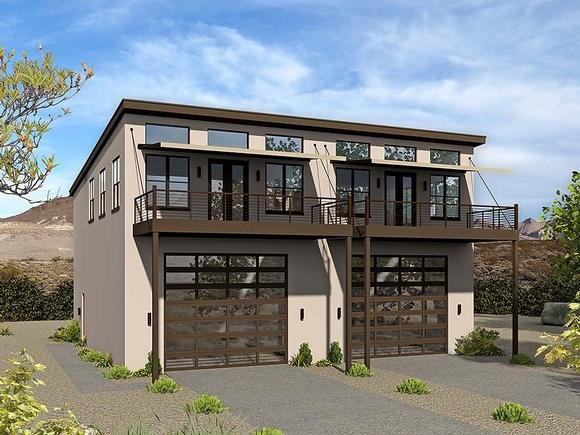 Coastal, Contemporary, Modern Multi-Family Plan 51636 with 6 Beds, 4 Baths, 4 Car Garage Elevation