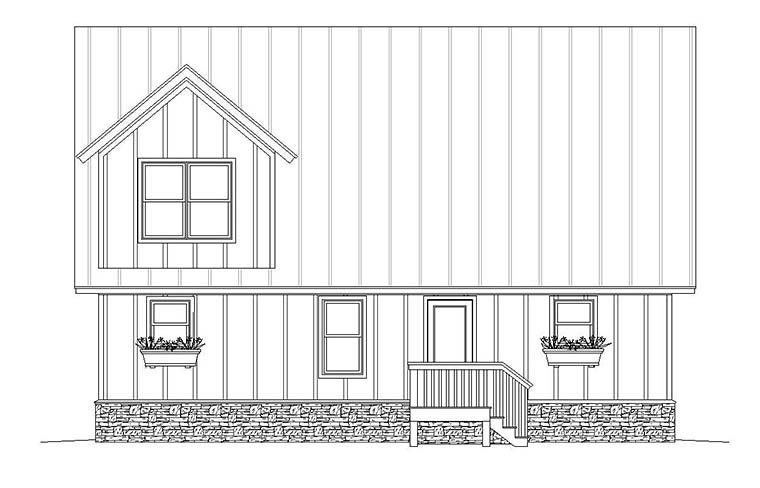 Country, Traditional Garage-Living Plan 51645 with 3 Beds, 4 Baths, 2 Car Garage Rear Elevation