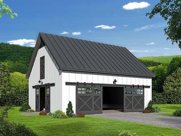 Country, Southern 2 Car Garage Plan 51649 Elevation