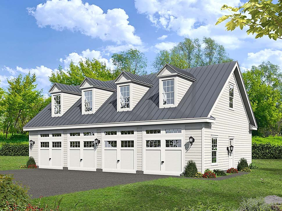 Bungalow, Cape Cod, Colonial, Country, Craftsman, European, Farmhouse, Historic, Ranch, Saltbox, Traditional 4 Car Garage Plan 51682 Elevation