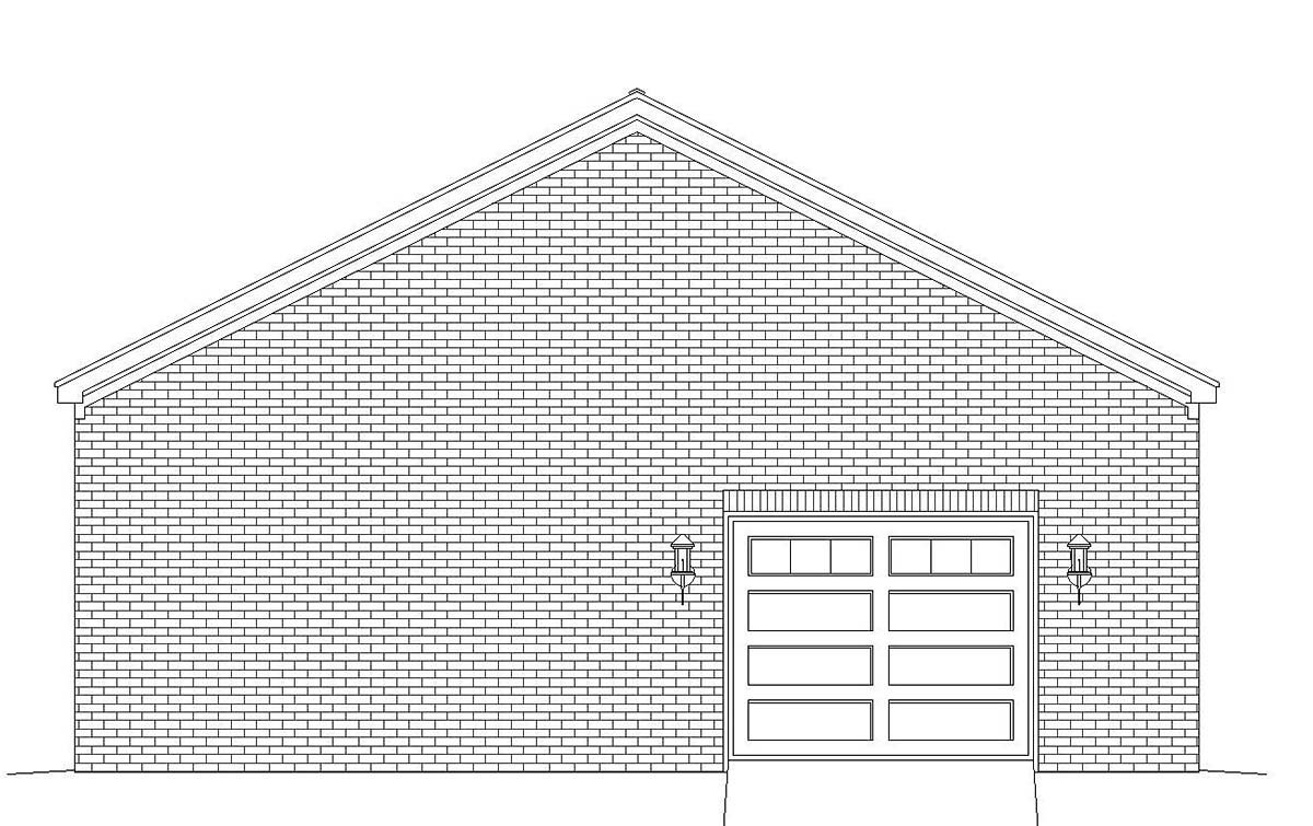 Colonial, European, Ranch, Traditional 2 Car Garage Plan 51683 Rear Elevation