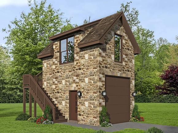 French Country, Traditional 1 Car Garage Plan 51691 Elevation
