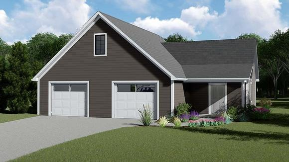 Cottage, Country, Traditional 2 Car Garage Apartment Plan 51842 Elevation