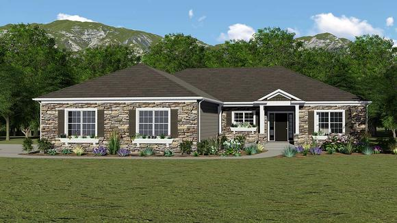 Country, European, French Country, Ranch House Plan 51872 with 3 Beds, 2 Baths, 3 Car Garage Elevation
