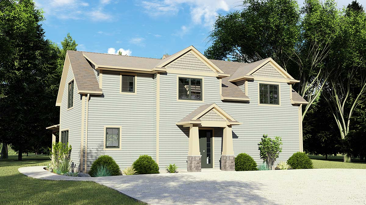 Country, Craftsman, Traditional House Plan 51877 with 4 Beds, 3 Baths Elevation