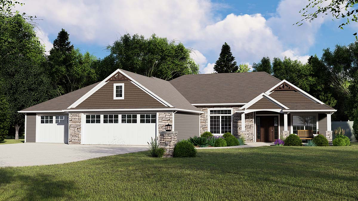 Craftsman, Ranch, Traditional House Plan 51881 with 3 Beds, 3 Baths, 3 Car Garage Elevation