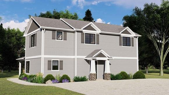 Country, Craftsman, Traditional House Plan 51883 with 4 Beds, 3 Baths Elevation