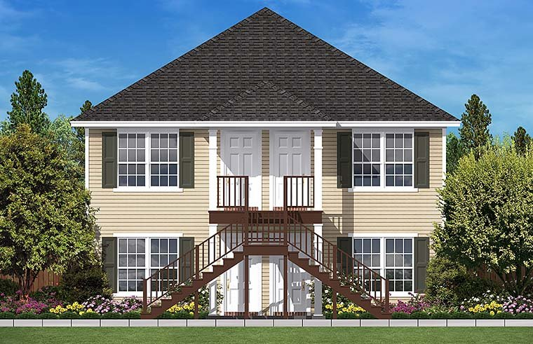 Traditional Multi-Family Plan 51931 with 4 Beds, 4 Baths Elevation