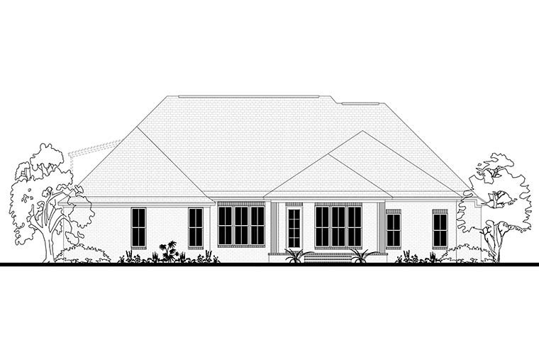 European, French Country House Plan 51967 with 4 Beds, 3 Baths, 2 Car Garage Rear Elevation