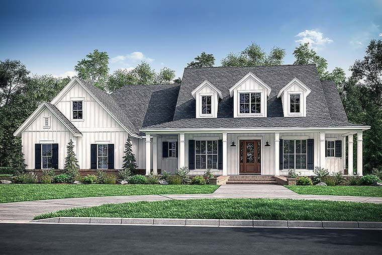 Country, Farmhouse, Southern House Plan 51974 with 4 Beds, 4 Baths, 3 Car Garage Elevation