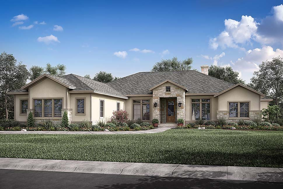 Country, Ranch, Traditional House Plan 51983 with 4 Beds, 4 Baths, 3 Car Garage Picture 3